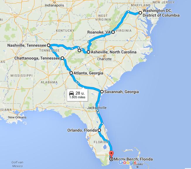 Voorbeeldroute Washington DC - Miami - De Route